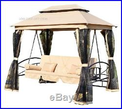 Porch Swing With Canopy & Outdoor Daybed Gazebo For Adults 3 Person Patio Lawn