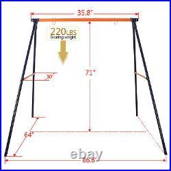 Premium Porch Swing Frame Set + 40 Large Kids Saucer Tree Swing Heavy Duty