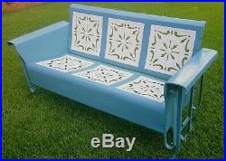 Rare HTF Vintage Bunting Metal Front Porch Glider Swing Solid Exc Teal White