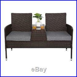 Rattan Double Chair Set Outdoor Patio Rattan Furniture Seat Sofa Coffee Table