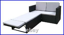 Rattan Outdoor Garden Sofa Furniture Love Bed Patio Sun bed 2 seater Black