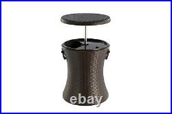 Rattan Outdoor Style Cool Bar Ice Cooler Table Garden Furniture Brown