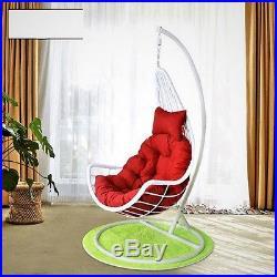 Rattan Swinging Indoor Outdoor White Hanging Basket Lounge Patio Chair