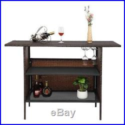 Rattan Wicker Bar Counter Table Shelves Garden Patio Home Furniture Indoor