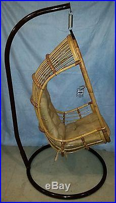 Rattan Wicker Hanging Swing Chair Indoor Outdoor Patio With Cushion and Stand