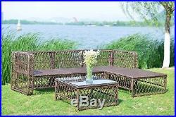 Rattan Wicker Sofa Set Outdoor Patio Furniture Garden Sectional Sofa Cushioned
