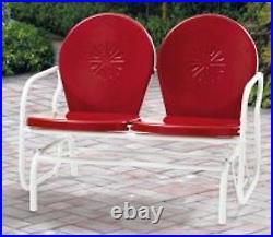 Retro Metal Glider Garden Seating Outdoor Furniture Yard Patio Red Chair Seats 2