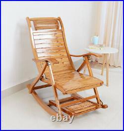 Rocking Chair Armchair Lounging Rocker Deck Relaxing Recliner Seat Bamboo Indoor