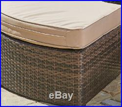 SUNLIT Outdoor Round Wicker Daybed Rattan Patio Sofa Retractable Canopy Sunbed