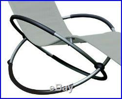 Schallen Breathable Steel Rocker Lounger Outdoor Garden Chair with Pillow GREY