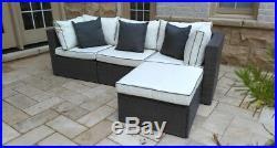Sectional Outdoor Wicker Sofa Set Patio Rattan Furniture Garden Deck Couch Gray