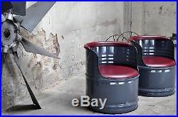 Sessel aus fabrikneuen 200 Liter Fass Ölfass Stuhl, Farbe & Kunstleder nach Wahl