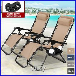 Set of 2 Adjustable Zero Gravity Chair Patio Folding Beach Recliner withCup Holder