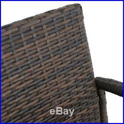 Set of 4 Outdoor Brown Wicker Barstool Patio Furniture Bar Stool 330lbs Capacity