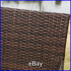 Set of 4 Outdoor Patio Furniture Brown PE Wicker Swivel Bar Stools with Cushions