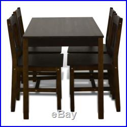 Set of 5 Kitchen Dining Pine Wood Breakfast Furniture Table and 4 Chairs Brown
