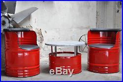 Sitzgruppe Fassmöbel 200l Fass Ölfass 2 x Stuhl + Tisch / Farben nach Wahl