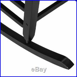 Solid Wood Rocking Chair Porch Rocker Indoor Outdoor Deck Patio Backyard Black