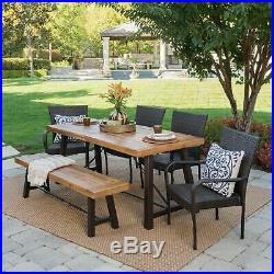 Soltice Outdoor 6 Piece Teak Finished Acacia Wood Dining Set with Multi-brown Ch