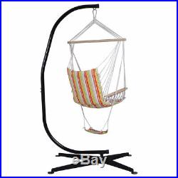 Steel C Frame Porch Hammock Swing Chair Stand Free Standing Indoor Outdoor Hook