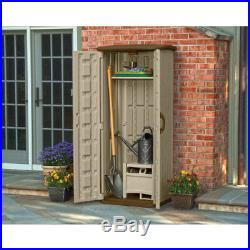 Suncast 20 Cubic Foot Outdoor Vertical Tool Utility Storage Shed with Wood Shelf