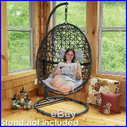 Sunnydaze Caroline Hanging Basket Egg Chair Resin Wicker Gray Cushions