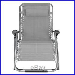 Super Width 23 Zero Gravity Folding Lounge Beach Chairs WithHolder 400LB Capacity