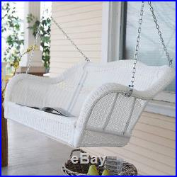 Swinging Patio Lounger White Wicker Outdoor Porch Swing Garden Bench Hanging