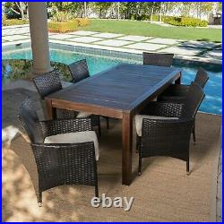 Taft Outdoor 7 Piece Dining Set with Dark Brown Finished Wood Table and Chairs