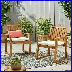 Tampa Teak Finish Acacia Wood Outdoors Dining Chairs (Set of 2)