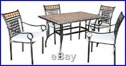 Tavolo Da Giardino Rettangolare In Ferro Battuto Con Mosaico 120x80x72 CM 24166