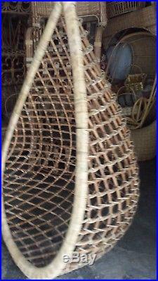 Tear Drop Hanging Cane Wicker Swing Egg Chair