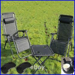 Textoline Reclining Zero Gravity Garden Sun Lounger Table Chair Cup Holder Tray