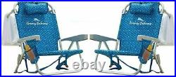 Tommy Bahama Back Pack Beach Folding Deck Chair Blue 2 PACK Brand New 2020