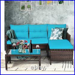 Topbuy 3 PCS Outdoor Rattan Wicker Sectional Sofa Set Patio Sofa Set