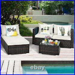 Topbuy 5 PCS Patio Rattan Furniture Set Sectional Sofa Cushioned