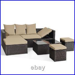 Topbuy 5 PCS Patio Rattan Sofa Table Set Wicker Patio Furniture With Cushions
