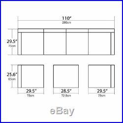 U-MAX 7 Piece Patio PE Rattan Wicker Sofa Sectional Furniture Set black