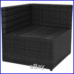 VidaXL 13 Piece Garden Sofa Set Poly Rattan Wicker Black Outdoor Furniture