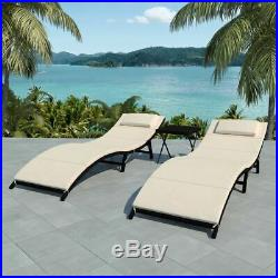 VidaXL 2x Folding Sun Loungers with Table Poly Rattan Black Outdoor Seat Chair