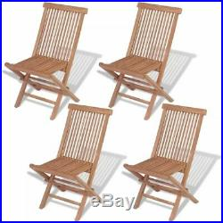 VidaXL 4x Solid Teak Wood Outdoor Folding Chairs Brown Seat Garden Furniture