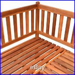 VidaXL Acacia Wood Garden Corner Bench Oil Finished Outdoor Park Deck Porch