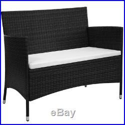 VidaXL Garden Bench Poly Rattan Wicker Black Cushion Outdoor Seat Chair Patio