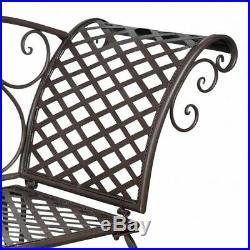 VidaXL Garden Chaise Lounge Brown Metal Antique Scroll-patterned Patio Outdoor
