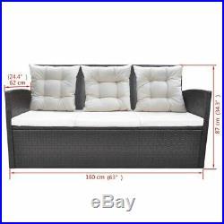 VidaXL Garden Furniture 18 Piece Poly Rattan Wicker Brown Dining Table Sofa