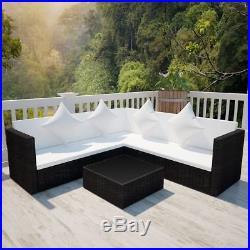 VidaXL Garden Furniture Set Wicker Poly Rattan Black Outdoor Sofa Lounge Couch