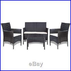 VidaXL Garden Lounge Set 7 Piece Wicker Poly Rattan Black Outdoor Sofa Table