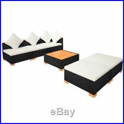 VidaXL Garden Sofa Set 15 Pieces Wicker Poly Rattan WPC Outdoor Lounge Seat