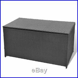 VidaXL Garden Storage Chest Poly Rattan Black Outdoor Bench Cabinet Organizer