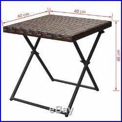 VidaXL Garden Sun Lounger Set 5 Piece Poly Rattan Wicker Brown Sunbeds Table